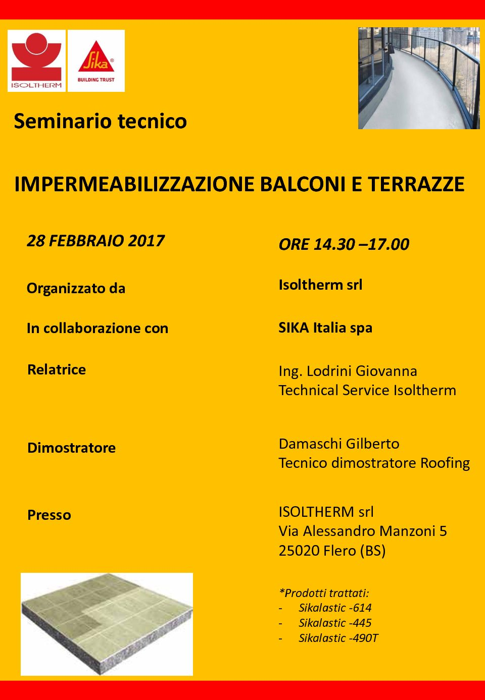 Corso Sika: Impermeabilizzazione terrazze | Isoltherm
